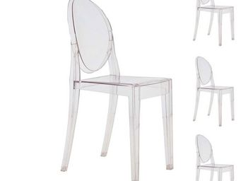 WHITE LABEL - quatuor de chaises transparent - ghost - l 52 x l  - Chaise