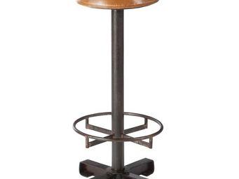 WHITE LABEL - tabouret cuir/métal cognac/noir - hoha - l 36 x l  - Tabouret De Bar