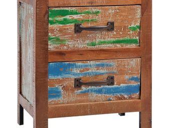 WHITE LABEL - table de chevet 2 tiroirs - angele - l 44 x l 33 x - Table De Chevet