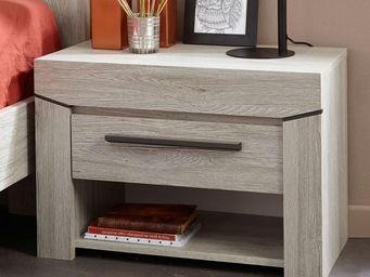 WHITE LABEL - table de chevet 1 tiroir chêne beige - yoho - l 60 - Table De Chevet