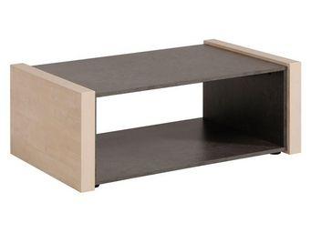 WHITE LABEL - table basse pin cendré/béton ciré - willy - l 100  - Table Basse Rectangulaire