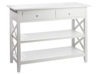 WHITE LABEL - console 2 tiroirs blanc - ferret - l 105 x l 43 x  - Console