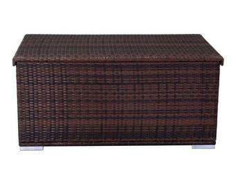 WHITE LABEL - coffre de rangement chocolat - nokanhu - l 132 x l - Coffre De Jardin