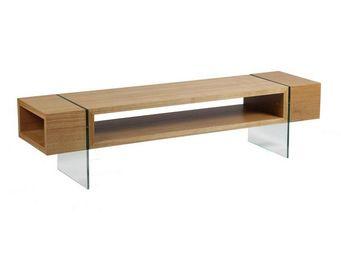 WHITE LABEL - meuble tv verre et bois - zorg - l 160 x l 40 x h  - Meuble Tv Hi Fi
