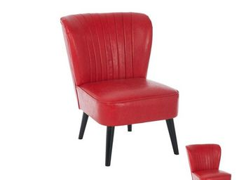 TOUSMESMEUBLES - duo de fauteuils rouge - buick - l 53 x l 68 x h 7 - Fauteuil Bas
