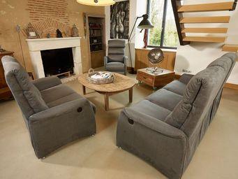 WHITE LABEL - salon complet relaxation électrique gris - softy - - Salon