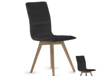 WHITE LABEL - duo de chaises simili cuir noires - kano - l 43 x  - Chaise