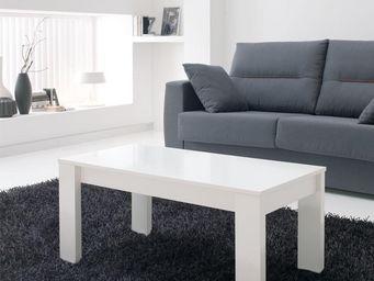 WHITE LABEL - table basse relevable blanche - malia - l 110 x l  - Table Basse Rectangulaire