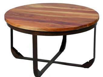 TOUSMESMEUBLES - table basse en bois et m�tal - tons - diam�tre 78  - Table Basse Ronde