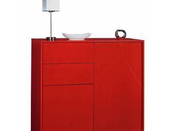 WHITE LABEL - buffet rouge 2 portes 2 tiroirs - navo - l 114 x l - Buffet Bas