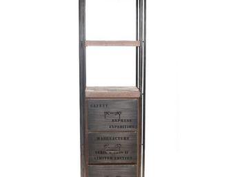 WHITE LABEL - bibliothèque en bois 3 tiroirs - industry - l 60 x - Etagère