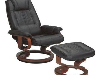 WHITE LABEL - fauteuil de relaxation cuir noir - excelly - l 84  - Fauteuil De Relaxation