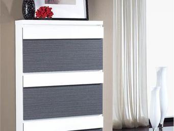 WHITE LABEL - meuble à chaussures blanc/ cendre - linea n°2 - l  - Meuble À Chaussures