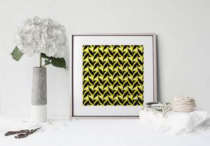la Magie dans l'Image - print art abstrait fifties moutarde - Estampe