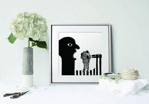 la Magie dans l'Image - print art spaghettis noir et blanc - Poster
