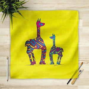 la Magie dans l'Image - foulard lamas jaunes - Foulard Carré