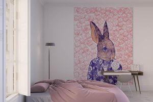 la Magie dans l'Image - grande fresque murale mon petit lapin fond rose - Papier Peint Panoramique