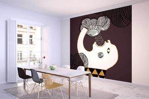 la Magie dans l'Image - grande fresque murale ogre pluie fond marron - Papier Peint Panoramique