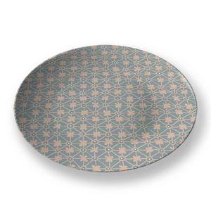 la Magie dans l'Image - assiette trèfle vert-de-gris beige - Assiette De Présentation