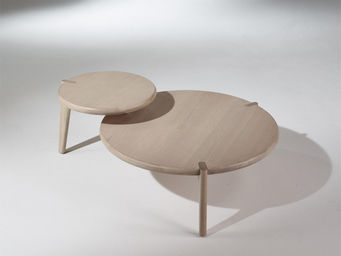 Robin des bois - table basse, vintage, chêne blanchi, sixty - Table Basse Ronde