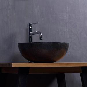 BOIS DESSUS BOIS DESSOUS - vasque en marbre noir - Miroir De Salle De Bains