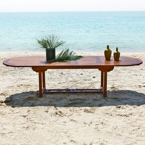 BOIS DESSUS BOIS DESSOUS - table de jardin en bois de teck huilé bali 10/12 p - Table De Jardin À Rallonges