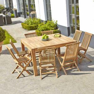 BOIS DESSUS BOIS DESSOUS - salon de jardin en bois de teck midland 8 places - Salle À Manger De Jardin