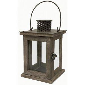 CHEMIN DE CAMPAGNE - petite lanterne de style ancien en bois et fer - Lanterne D'intérieur
