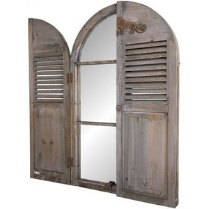 CHEMIN DE CAMPAGNE - grand miroir fenêtre à volet en bois - Miroir