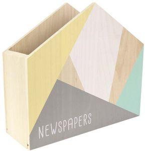 jardindeco - range papiers et magazines en bois newspapers - Porte Revues