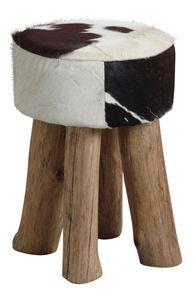 Aubry-Gaspard - tabouret rond en peau de vache - Tabouret