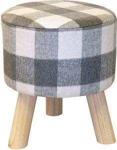 WHITE LABEL - pouf motif écossais pieds en pin naturel - Pouf