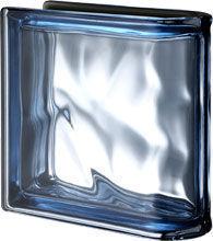 Seves Glassblock - peagsus metallizzato blu ter lineare o met - Brique De Verre Terminale Linéaire