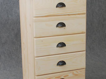 BARCLER - chiffonnier en bois brut 5 tiroirs 53x92x40cm - Chiffonnier