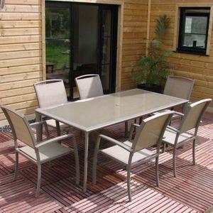 LE RÊVE CHEZ VOUS - ensemble table aluminium capuccino avec plateau ve - Salon De Jardin