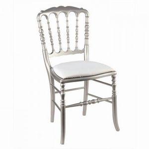 DECO PRIVE - chaise napoleon iii argentee et gallette blanche - Chaise