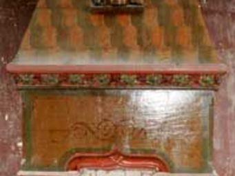 GALERIE MARC MAISON - painted stone mantel adorned with picturesque char - Manteau De Cheminée