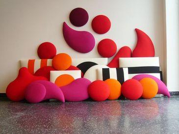 wobedo panneau acoustique mural multicolore laine tecnise. Black Bedroom Furniture Sets. Home Design Ideas
