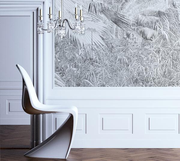 Foret Tropicale Au Crayon Papier Peint Panoramique Blanc