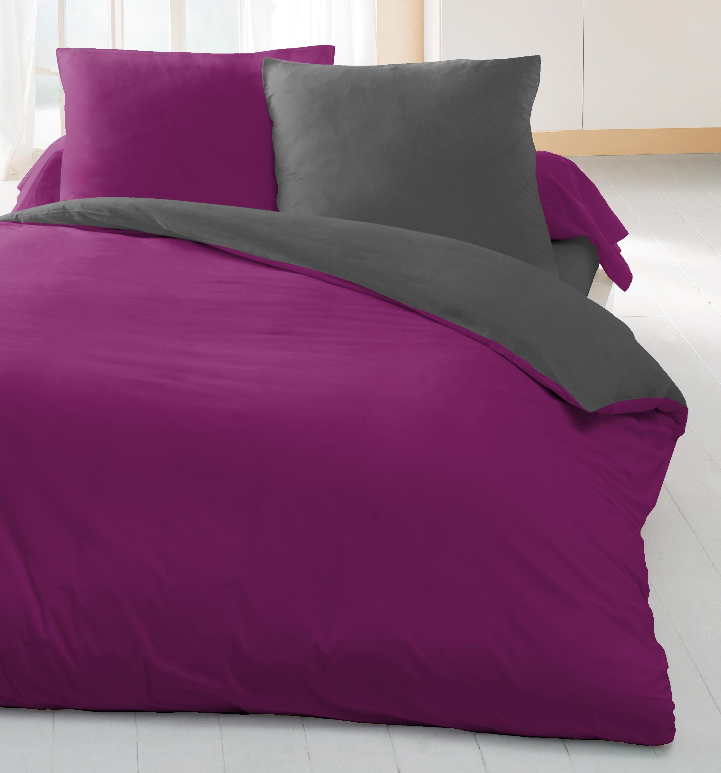 parure de couette 3 pieces groseille gris fonce housse de. Black Bedroom Furniture Sets. Home Design Ideas