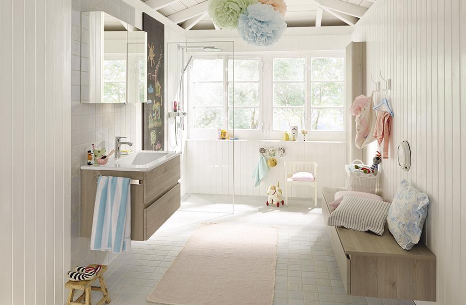 Bel meuble de salle de bains ch ne clair uni - Meuble de salle de bain original ...