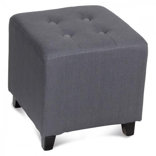 pouf carr capitonn gris pouf demeure et jardin. Black Bedroom Furniture Sets. Home Design Ideas