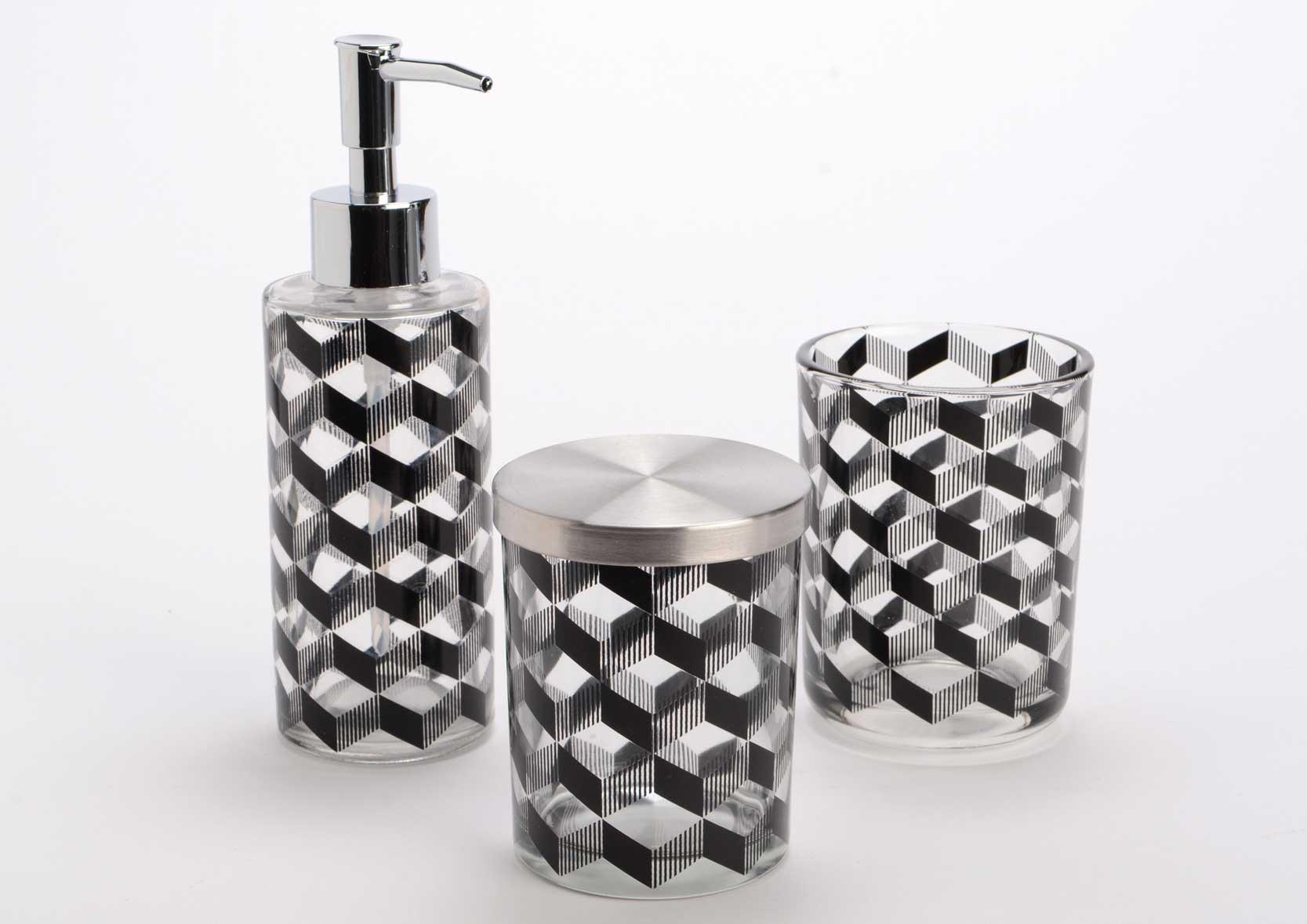 Coffret 3 accessoires salle de bain noir accessoire de salle de bains set amadeus - Accessoire salle de bain noir ...