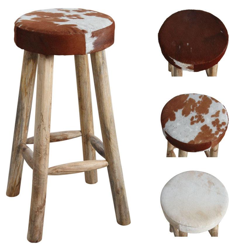 tabouret de bar en peau de vache et bois tabouret de bar. Black Bedroom Furniture Sets. Home Design Ideas