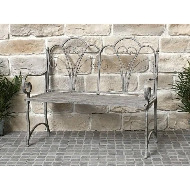banc fauteuil de jardin pliable en fer 110 cm banc de jardin gris fer chemin de campagne. Black Bedroom Furniture Sets. Home Design Ideas