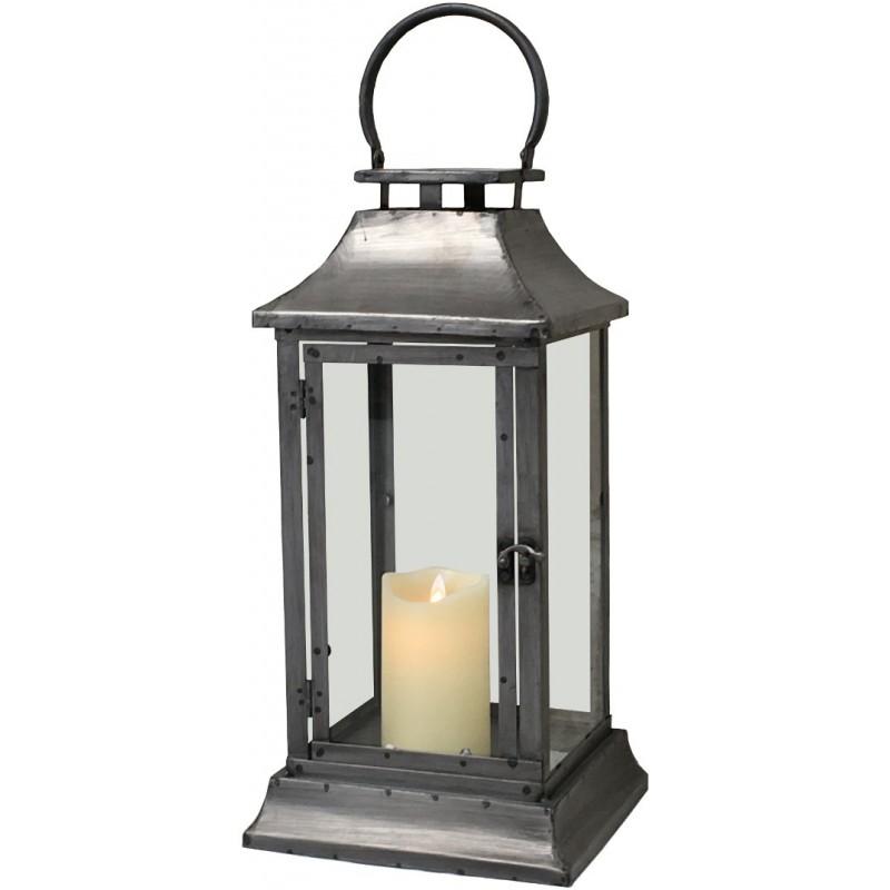 lanterne temp te en fer m tal 44 cm lanterne d 39 int rieur gris. Black Bedroom Furniture Sets. Home Design Ideas