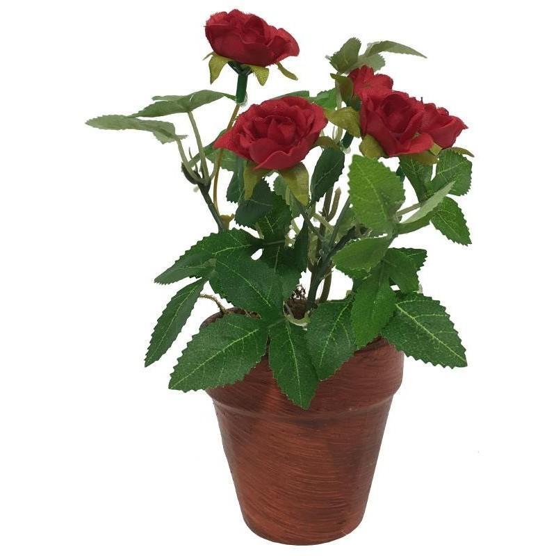 Rosier artificiel rouge 17 cm fleur artificielle rouge for Fleurs artificielles tissu