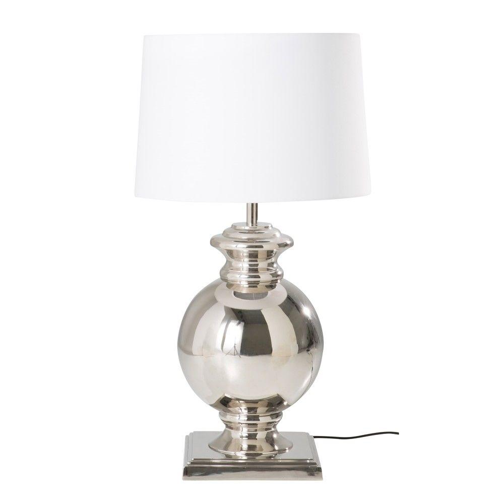 lampe en métal chromé et abatjour blanclampe à poser