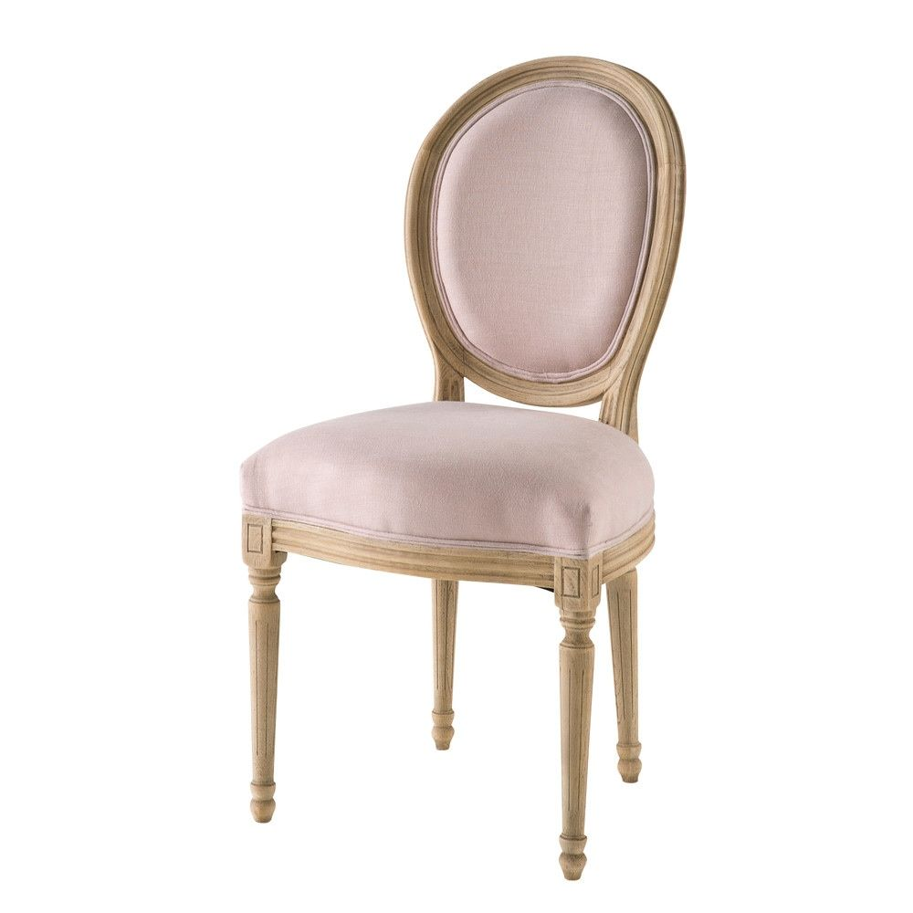 chaise m daillon en lin lav rose poudr louischaise. Black Bedroom Furniture Sets. Home Design Ideas