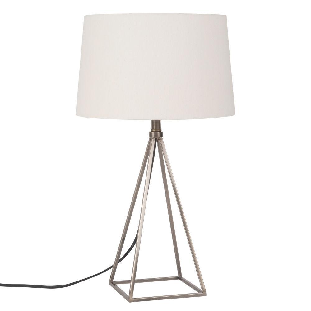 lampe en métal et abatjour blanclampe à poser  blanc